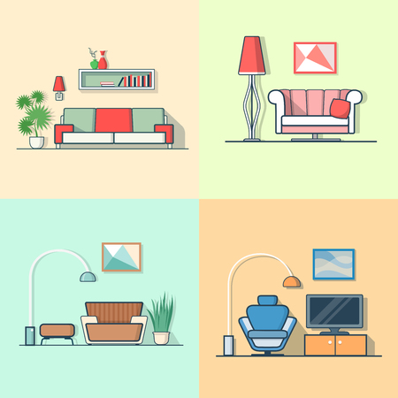 condo: Condo accommodation living room cosy modern minimalism minimal interior indoor set. Linear multicolor stroke outline flat style vector icons. Color icon collection.