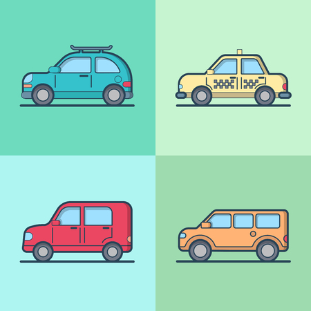 hatchback: Car automobile taxi cab   SUV vehicle sedan hatchback cool transport set. Linear stroke outline flat style vector icons. Color outlined icon collection. Illustration