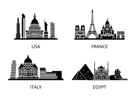 cairo: High detail landmarks silhouette stencil set. World countries cities sightseeing collection. New York Washington Paris Rome Cairo. USA Italy France Egypt.