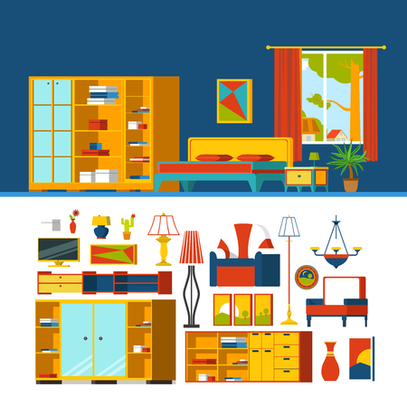 window curtain: Bedroom interior object constructor template vector icon set. Flat style furniture accessory illustration. Bed cabinet armchair chair picture TV window curtain lamp stand. Creative indoor collection.