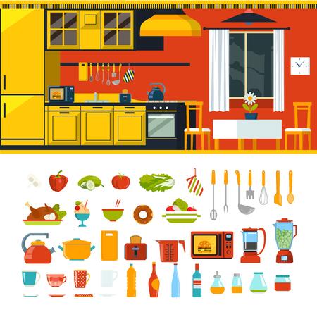 fridge lamp: Kitchen interior object constructor template mockup vector icon set. Flat style furniture accessory illustration. Fridge window onion table chair furniture lamp kitchenware clock. Creative indoor collection. Illustration