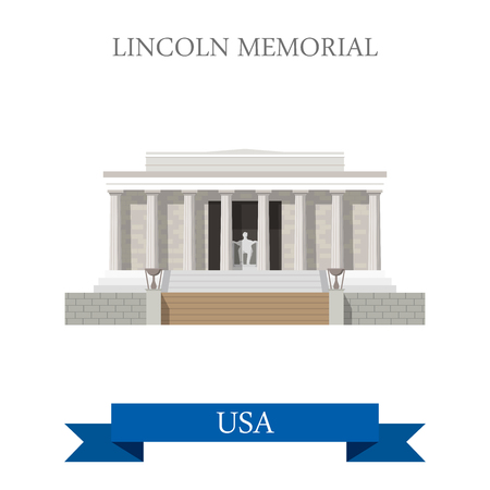 Lincoln Memorial in Washington United States. Flat cartoon style historic sight showplace attraction web site vector illustration. World cities vacation travel sightseeing North America USA collection