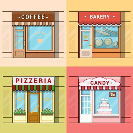 Kleine lokale Süßwaren-Set-Geschäft Vitrine Schaufenster Schaufenster kaffee Bäckerei Pizza Pizzeria Süßigkeiten. Linear Multicolor Schlaganfall Umriss flach Stil Vektor-Icons. Farbe Icon-Sammlung.