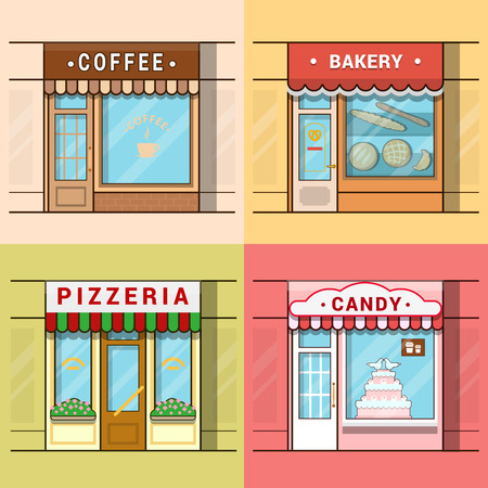 local business: Small local business showcase storefront shop window cafe coffee bakery pizza pizzeria candy confectionery set. Linear multicolor stroke outline flat style vector icons. Color icon collection.