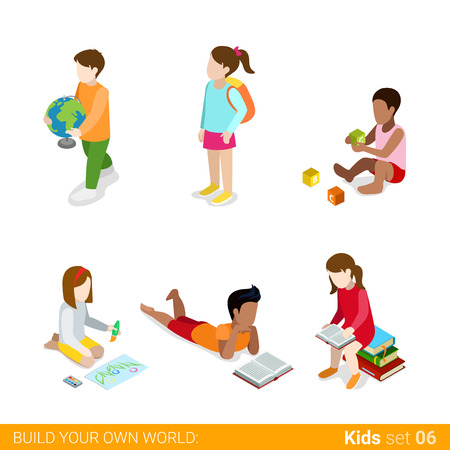 children studying: Children learning studying making classes homework flat web infographic concept vector icon set. Creative people collection.