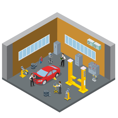 serviceman: Car repair vehicle service interior indoor room. Serviceman at work workplace. Flat 3d isometry isometric style web site app icon set concept vector illustration. Creative people collection. Illustration