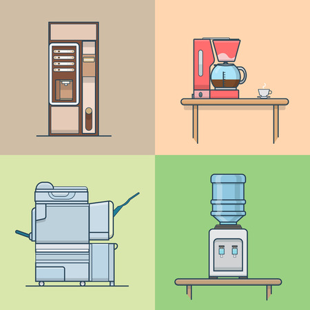 automat: Office kitchen technical room interior indoor set. Linear stroke outline flat style vector icons. Color coffee cooker vending machine multifunction copier water cooler icon collection. Illustration