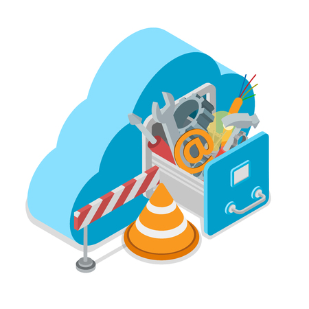 web cap: Cloud service under construction. Cloud shape drawer wrench screwdriver hammer wire cogwheel cap barrier. Flat 3d isometry isometric style web site app icon set concept vector illustration.