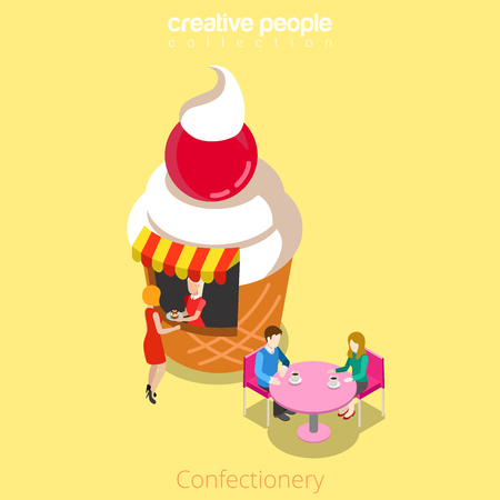 real people: Confectionery candy shop cupcake shape building cafe restaurant realty real estate concept. Flat 3d isometry isometric style web site app icon concept vector illustration. Creative people collection.