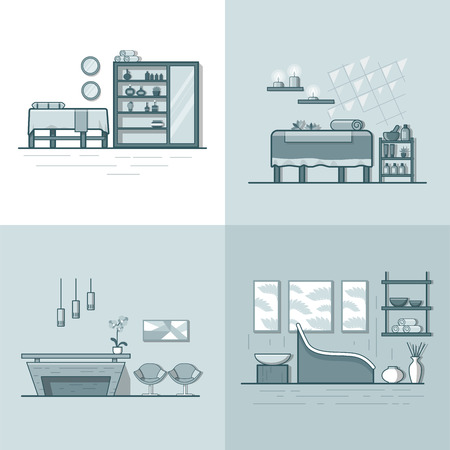 beauty shop: Spa salon beauty shop room interior indoor set. Linear multicolor stroke outline flat style vector icons. Monochrome icon collection.