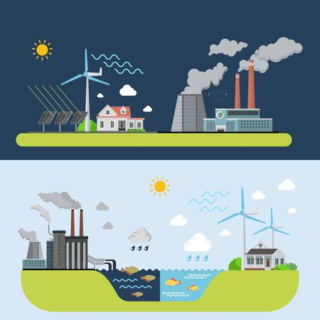 polluted: Green energy clean city compared to polluted plant factory industrial area web site banner hero image set. Flat style modern vector illustration.