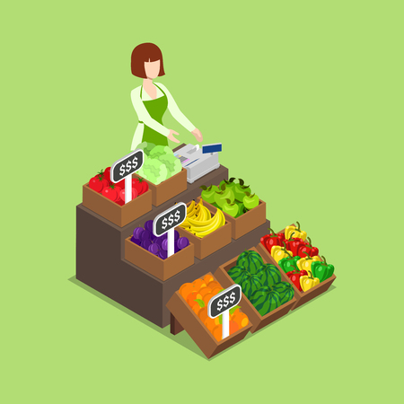 metaphoric: Farm fresh eco green grocery vegan shop market sale showcase storefront concept. Flat 3d isometry isometric style web site app icon set concept vector illustration. Creative people collection.