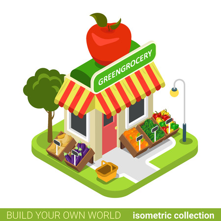 greengrocery: Greengrocery grocery vegan vegetable fruit building realty real estate concept. Flat 3d isometry isometric style web site app concept vector illustration. Build your own world architecture collection.