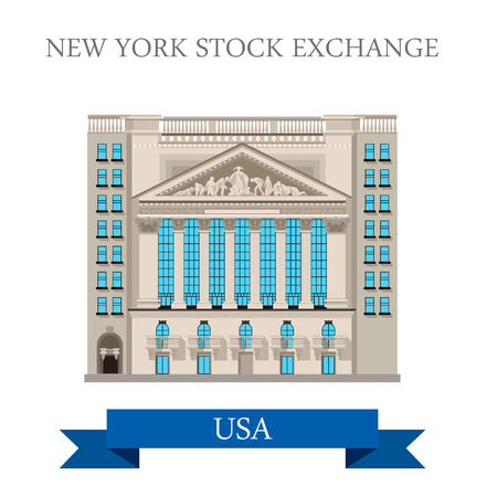 points of interest: New York Stock Exchange in United States. Flat cartoon style historic sight showplace attraction web site vector illustration. World cities vacation travel sightseeing North America USA collection. Illustration