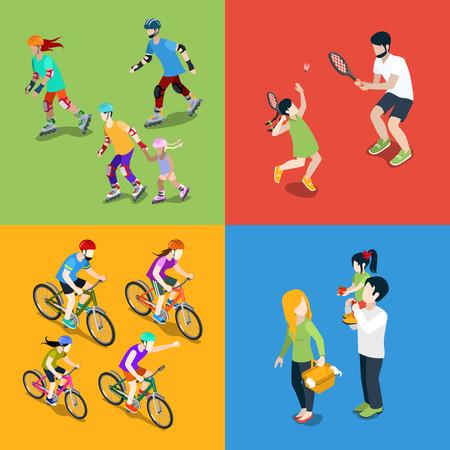 ciclismo: los jóvenes de la familia urbana padres de crianza deportes al aire libre plana isométrico web concepto de infografía conjunto de iconos vectoriales 3d. Balanceo del rodillo de patinaje tenis ciclismo de picnic. personas colección creativa.