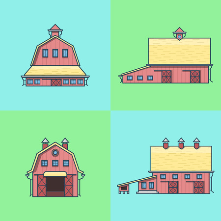granary: Farm rancho barn store house warehouse granary hangar architecture building set. Linear stroke outline flat style vector icons. Color icon collection.