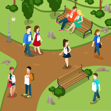 labeling: Labeling people call names gossip concept. People in park labels hanging on neck. Flat 3d isometry isometric style web site app icon set concept vector illustration. Creative people collection.