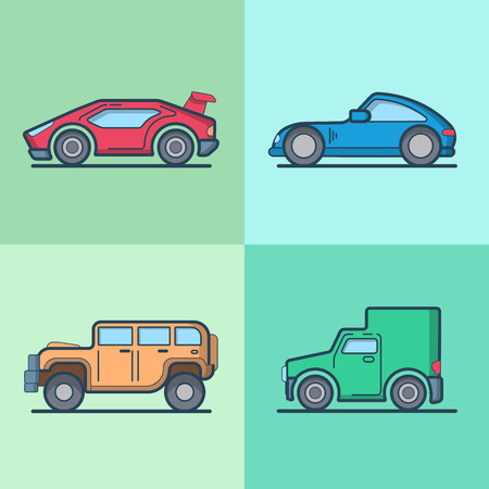cabrio: Car automobile sportscar supercar roadster jeep van cool transport set. Linear stroke outline flat style vector icons. Color outlined icon collection.