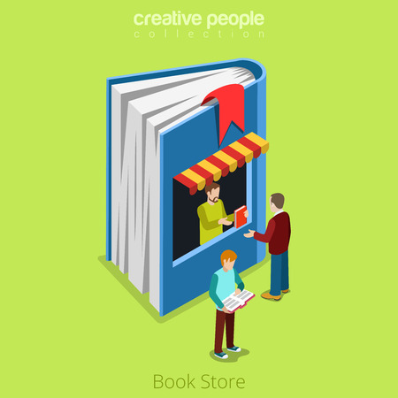 real people: Bookstore book shape building shop realty real estate concept. Flat 3d isometry isometric style web site app icon set concept vector illustration. Creative people collection. Illustration
