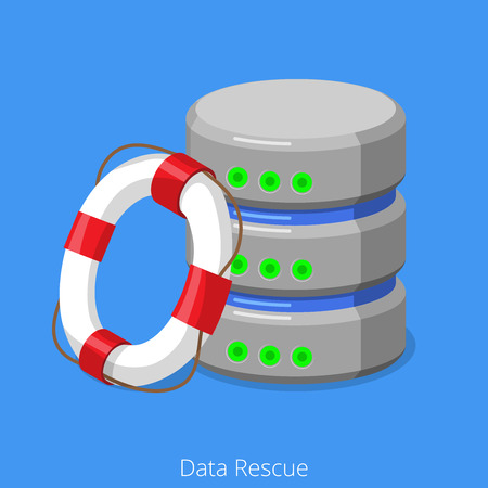 ring life: Database SQL storage rescue technology concept. Flat 3d isometric isometry web vector illustration icon. Rescue ring lifebuoy life preserver and HDD hard disk drive.