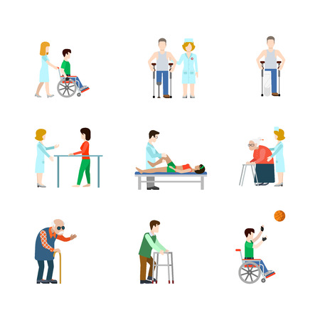 hospital patient: Flat lab hospital healthcare medical occupation doctor nurse patient care icon set concept web infographics vector illustration. Medicine profession professional conceptual. Creative people collection Illustration
