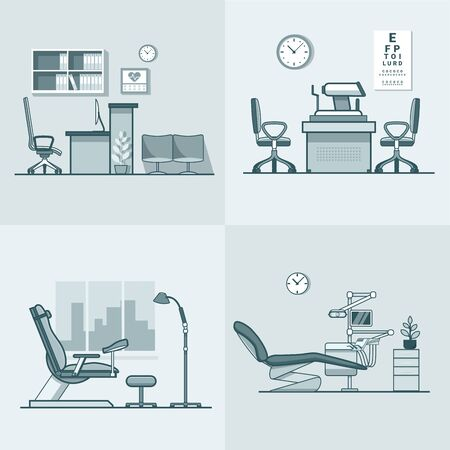 oculist: Gynecological gynecology dentist oculist eye doctor office hospital medicine woman healthcare room interior indoor set. Linear stroke outline flat style vector icons. Monochrome color icon collection.