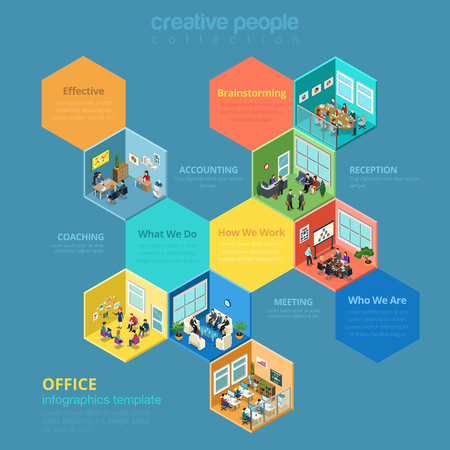 isometry: Flat 3d isometric isometry abstract office interior room cell company business worker staff concept vector infographics template. Meeting reception accounting management. Creative people collection.