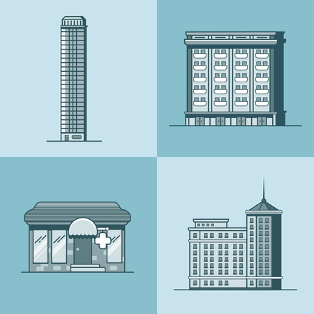 guests website: City town skyscraper hotel house pharmacy drug store architecture building set. Linear stroke outline flat style vector icons. Monochrome icon collection.