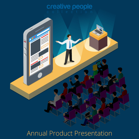 metaphoric: Electronics product smartphone presentation promo scene concept. Flat 3d isometry isometric style web site app icon set concept vector illustration. Creative people collection. Illustration