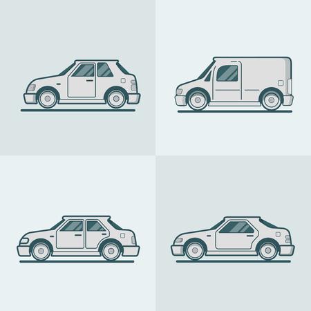 motor car: Motor passenger car van sportscar sedan hatchback road transport set. Linear stroke outline flat style vector icons. Monochrome icon collection.