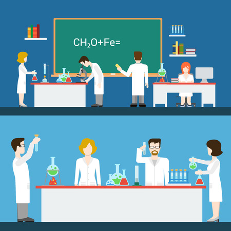 science class: Chemical pharmaceutical laboratory lab interior people worker staff equipment tool indoor concept vector. Flat style website front view class room chemistry science doctor assistant scientist