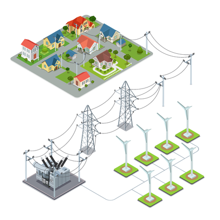 Wind energy propeller green village power supply cycle infographics concept. Flat 3d isometry isometric style web site vector illustration. Ecology eco power lifestyle sustainable world collection 向量圖像