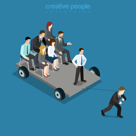 colleagues: Pull the strap, drudge team leader leadership. Businessman pulls platform colleagues. Flat 3d isometry isometric style web site app icon set concept vector illustration. Creative people collection.