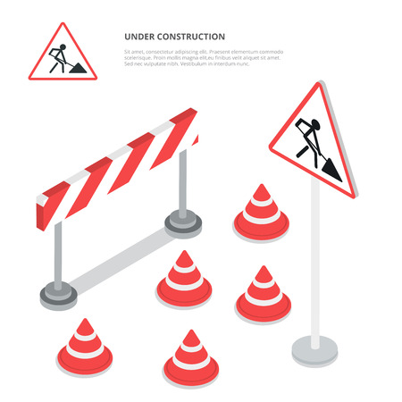 isometry: Under construction. Road sign, triangle cap, barrier. Flat 3d isometry isometric style web site app icon set concept vector illustration.