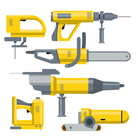 grind: Industrial equipment objects constructor template mockup vector set. Tools universal drill fretsaw grind stapler chainsaw collection.
