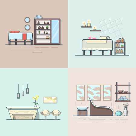 Spa salon beauty shop room interior indoor set. Linear multicolor stroke outline flat style vector icons. Color icon collection.