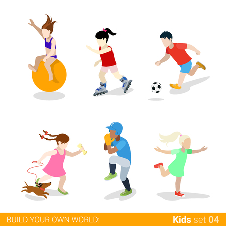 unrecognizable: Active sports teenagers children flat web infographic concept vector icon set. Ball jumping gymnastics skating soccer baseball dancing dog walking. Creative people collection. Illustration
