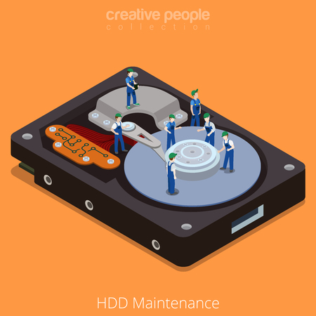 hdd: HDD Maintenance process. Flat 3d isometric isometry style technology computer hardware concept vector illustration. Micro cartoon men on big hard disk drive open cover. Creative people collection.