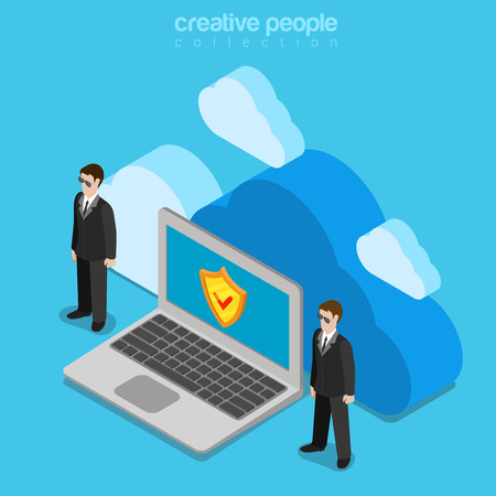 bodyguard: Cloud data storage security safety service concept. Flat 3d isometry isometric online internet technology web vector illustration. Two bodyguard laptop shield. Creative people collection. Illustration