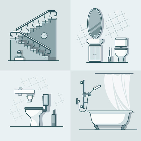 toilet paper art: Bathroom toilet ladder interior indoor element furniture set. Linear stroke outline flat style vector icons. Monochrome line art icon collection.