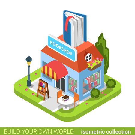 isometry: Bookstore book building shop realty real estate concept. Flat 3d isometry isometric style web site app icon set concept vector illustration. Build your own world architecture collection. Illustration
