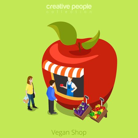 greengrocery: Vegan shop greengrocery apple shape building realty real estate concept. Flat 3d isometry isometric style web site app icon set concept vector illustration. Creative people collection.