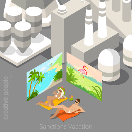 polluted: Vacation during sanctions concept. Young couple laying in polluted city bordered with tropical beach resort posters. Flat 3d isometric style web site vector illustration. Creative people collection.