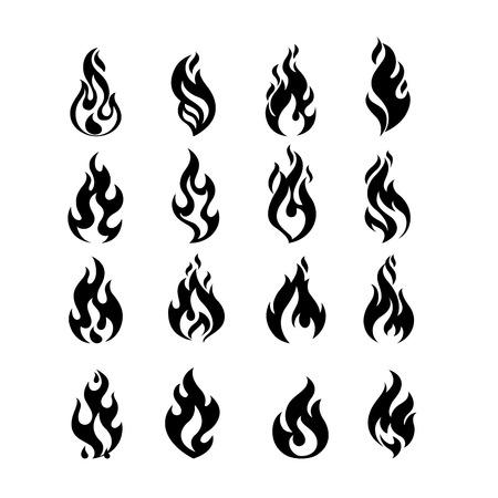 llamas de fuego: Negro Fire Burning llama conjunto de plantillas de diseño vectorial. Quemar la bola de fuego concepto de paquete de iconos. ilustración infierno caliente. colección creativa hoguera. Vectores