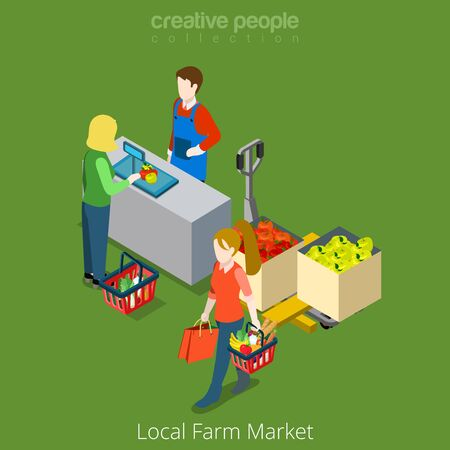 food shop: Local Farm Market shop sale shopping flat 3d isometry isometric website vector concept illustration. Creative people collection. Female shopping food vegetable product.