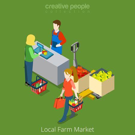 Lokale Farm Market winkel shopping verkoop flat 3d isometry isometrische website vector concept illustratie. Creatieve mensen collectie. Vrouwelijke winkelen eten van groente. Vector Illustratie