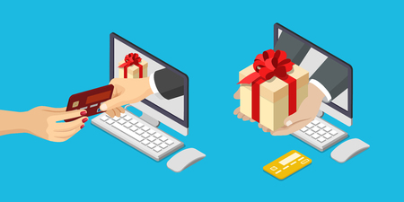 give and take: Online sale payment delivery e-commerce concept. Flat 3d isometric isometry web vector illustration. Hand from computer monitor take pay bank credit card give box.