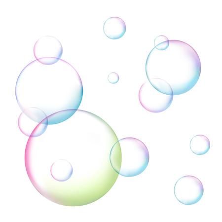 Burbuja de jabón en fondo blanco aislado ilustración vectorial con burbujas de jabón del arco iris de cerca. Ilustración de vector
