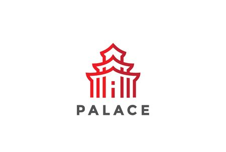 property of china: Asian Architecture  Temple abstract design vector template Linear. Asia Building Logotype concept outline icon