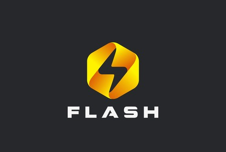 Flash Logo abstract design vector template. Lighting bolt icon.  Thunder electricity Power Fast Speed Logotype concept